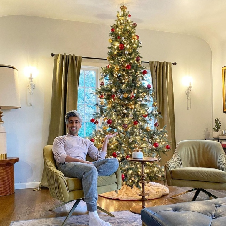 Tan France, celebrity holidays, celebrity holiday home decorations, celebrity Christmas decorations
