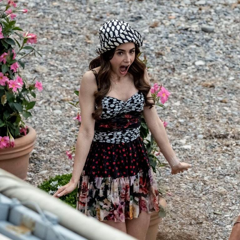 Lily Collins Paris Filming